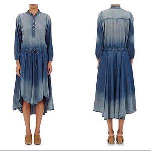 NSF Caleb Chambray Dress High Low Hem Ombré